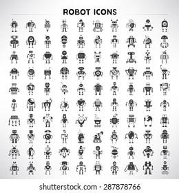 robot icons set, big set vector of cute robots
