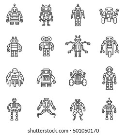Robot, icons set. Bot, symbols collection. Electromechanical machine, isolated vector illustration. Humanoid robot, linear design.