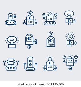 Robot  icons set.  Bot, symbols collection. Electromechanical cartoon machine, isolated vector illustration. Linear design, editable stroke.
