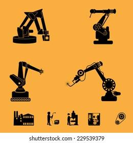 Robot icons set, industry robot icons, robotic arm set, welding robots,