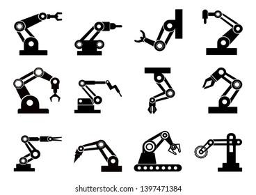 robot icons set,vector robotic arm black symbol