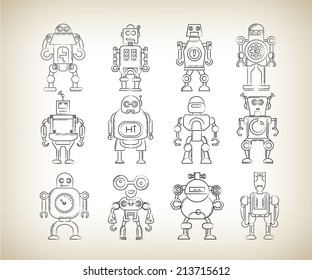 robot icons in sketch line design