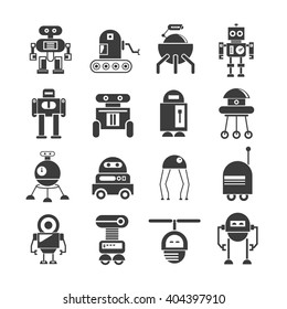 robot icons, vector set