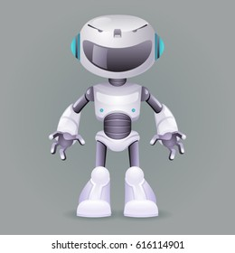 Robot innovation technology science fiction future little cute 3d design vector illustration