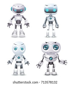 Robot innovation technology science future fiction cute little 3d design vector illustration