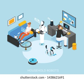 Robot integrated smart home with programmed humanoid cooking serving meals cleaning learning tasks isometric composition vector illustration