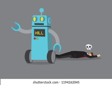 Robot killing off a businessman. Business concept of the problem of artificial intelligence, automation or technology that might cause a jobless society. Vector cartoon illustration.