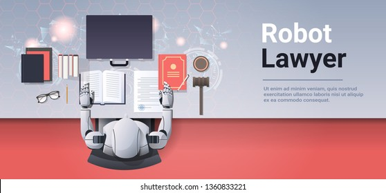 robot lawyer or judge reading law book humanoid working at workplace with gavel books and briefcase artificial intelligence justice concept top angle desktop view horizontal copy space