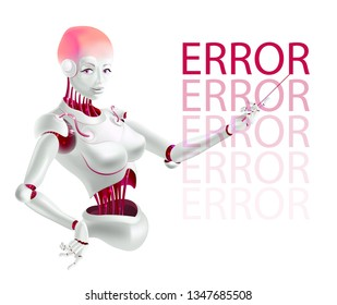 Robot lecturer or cyborg teacher indicates an error. Humanoid female Android with artificial intelligence holding pointer in hand. Vector illustration in realistic 3D style.