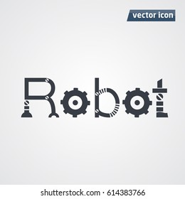 robot letters in word vector illustration