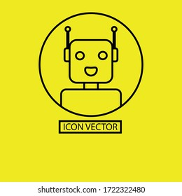A robot line in yellow background