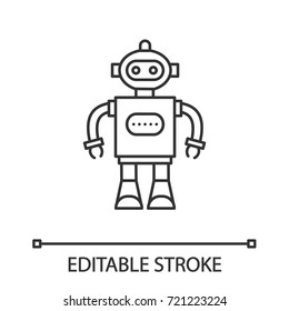 Robot linear icon. Thin line illustration. Contour symbol. Vector isolated outline drawing. Editable stroke