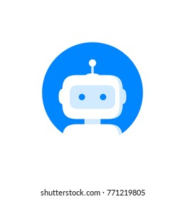 Robot logo icon. Bot sign design. Chatbot symbol concept.  Voice support service bot. Online support bot. Modern flat style cartoon character illustration. Isolated on white background