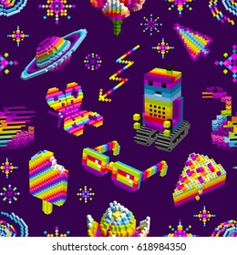 Robot loved butterfly,swan,ice cream,cake,space rainbow,stars.Computer characters,3D,cubes,pixel art,game style,digital,seamless pattern for wallpaper,textiles,.Vector
