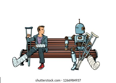 a robot and a man with broken legs with crutches and in a cast. medicine and health. Pop art retro vector illustration kitsch vintage
