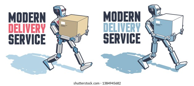 Robot man carries a parcel box. Robotic delivery service. Vector retro illustration.