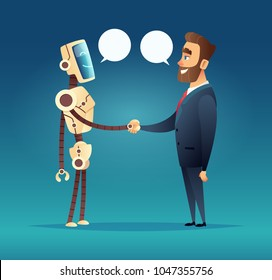 robot and a man greeted. meeting of artificial intelligence and businessman
