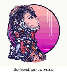 Robot man in headphones listening to music t-shirt design. Cyberpunk art. Portrait of biomechanical soldier, people of future, synthwave, vaporwave and retrowave concept