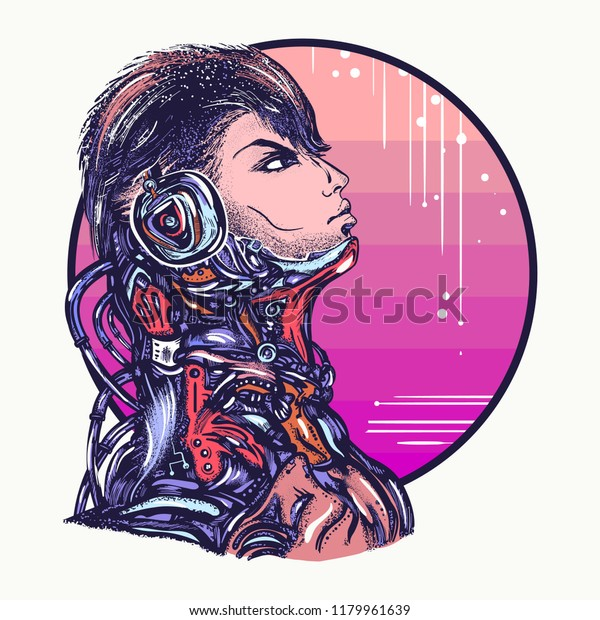 Robot Man Headphones Listening Music Tshirt Stock Vector