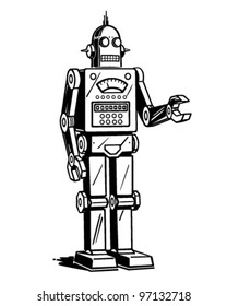 Robot Man - Retro Clipart Illustration