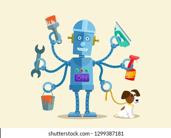 Robot with many hands doing many differents works. Multifunctional robot. Robotic process automation, RPA concept. Vector illustration, flat cartoon style.