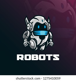 robot mascot logo design vector with modern illustration concept style for badge, emblem and tshirt printing. funny robot illustration.