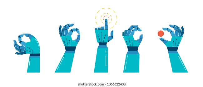 robot and mechanic hands banner, vector concept design