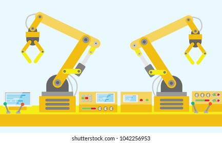 Robot mechanical arm and control panel, Industrial factory technology, flat design, vector illustration