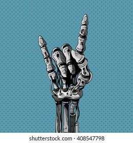 Robot mechanical hand shows rock gesture, vector illustration