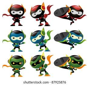 Robot Ninja Mascot Set 2