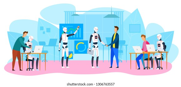 Robot Office Workers. People and Humanoids Handshaking. Work Together. Creative Industrial AI. Futuristic Technology. Innovation Robot. Artificial Intelligence Concept. Vector EPS 10.
