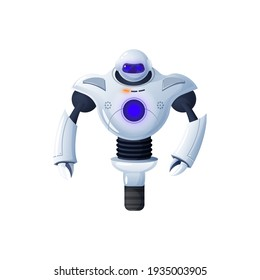 Robot on one wheel isolated futuristic character with arms. Vector friendly bot, single wheeled artificial intelligence monster, electronic cyborg. Modern kids toy, white humanoid robotic automation