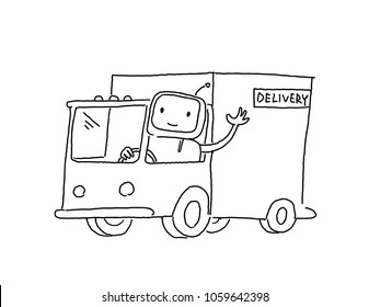 Robot on the truck. Goods delivery. Sketch, drawing by hand. Hand drawn black line vector illustration.