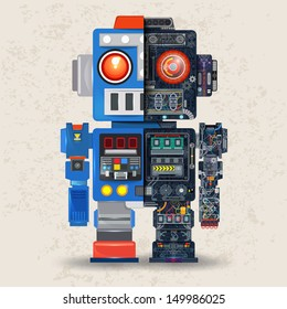 Robot opened to reveal cogs inside, Eletronic board in shape of Robot, Vector illustration