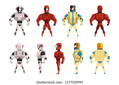 Robot ostumes set, superhero man vector Illustrations