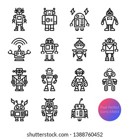 robot outline icons, vector pixel perfect design, editable stroke