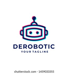 Robot overlapping logo and icon design vector.