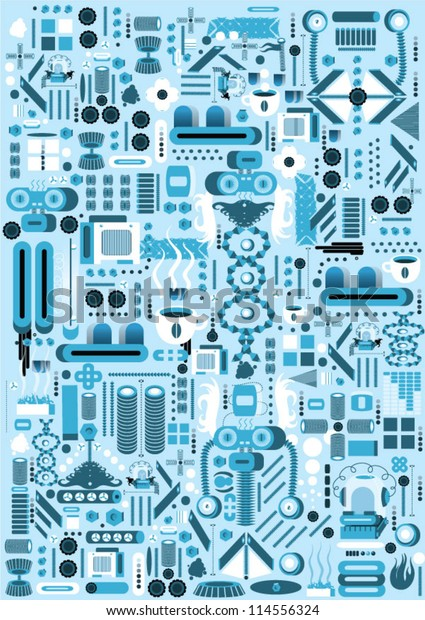 Robot Parts Pattern Stock Vector (Royalty Free) 114556324