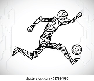 robot playing football on tech background. vector illustration.