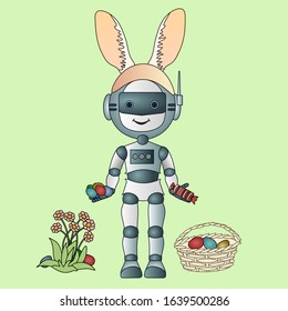 robot with rabbit ears on his head, stands and holds Easter colored eggs and candy in his hands, next to a flower bush and a basket, color vector card