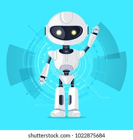 Robot with raised arm and interface consisting of lines and circles, azure poster with robotic creature and screen, isolated on vector illustration