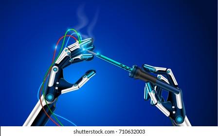 the robot repairs itself. The robot arm close-up. The robot holds in a hand a soldering iron and solder the faulty contacts on the finger. Future concept illustration. VECTOR