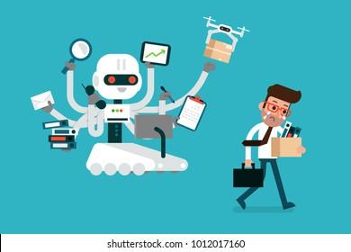 Robot replacing human worker, flat design vector.