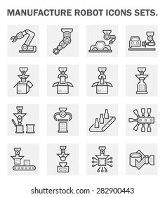 Robot or robotic icon such as hand, arm, automotive manufacturing, food processing, beverage manufacturing and packaging vector icon set design, black and expand line icon.