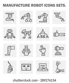 Robot or robotic vector icon set.