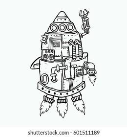 robot rocket doodle sketch