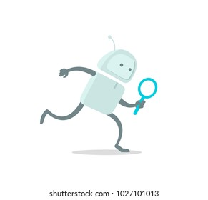 Robot runs alien character with magnifier loupe. With magnifying glass search. Flat color vector illustration stock clipart