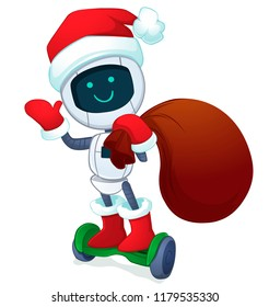 Robot santa with gifts. Vector illustration.