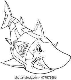 Robot Shark Vector Illustration Art