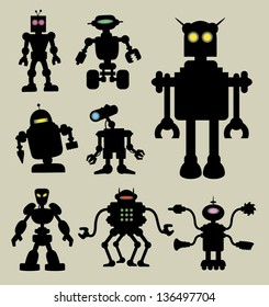 Robot Silhouettes 1. Smooth and detail robot silhouette vectors with eyes lamp. Easy to edit or change color. Good use for symbol, logo, sticker, wallpaper, and any design you want.